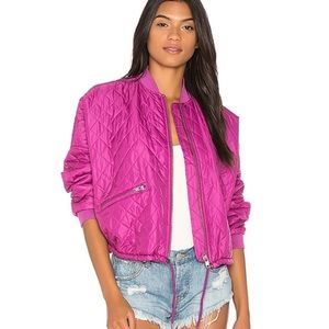 Free People Easy Quilted Oversized  Bomber Jacket
